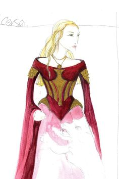 A sketch of Queen  Regent  Cersie Lannisters gown.