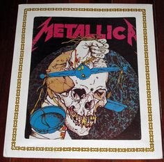 """Metal Up Your…I Mean, On Your Wall - Vintage 1980s Metallica PUSHEAD 10""""x12"""" Skull Glass Wall Plaque from Fair or Carnival - Heavy Metal on Etsy, $29.99"""