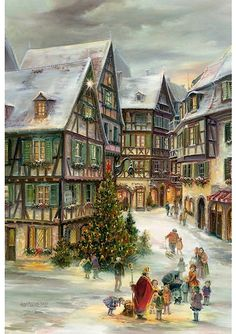 Christmas in Colmar Advent Calendar | This advent calendar features a gorgeous image of half-timbered houses in Colmar at Christmastime.  There are 24 numbered windows, one to open each day before Christmas and a small hole for hanging. Made in Germany.