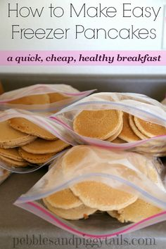 How to make easy FREEZER PANCAKES.  A quick, cheap, and healthy breakfast for crazy mornings.  We save so much money making these whole wheat pancakes ahead of time and freezing them.  Come see the process.
