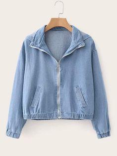 Fall Women Long Sleeve Zipper Denim Coats Zippers Loose Pockets Hooded Coats Casual Turn-Down Collar Blue Jacket Teen Fashion Outfits, Denim Fashion, Trendy Outfits, Casual Coats For Women, Jackets For Women, Clothes For Women, Fresh Outfits, Denim Coat, Stylish Dresses