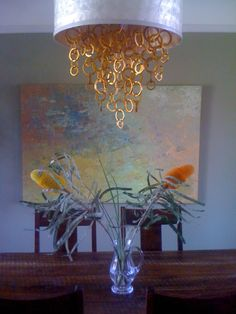 Custom chandelier, artwork by Gioi Tran, interior designed by Valerie Wills Interiors (San Francisco) Home Art, San Francisco, Chandelier, Paintings, Interiors, Ceiling Lights, Interior Design, Lighting, Artwork