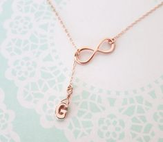 Rose Gold Initial and Infinity Lariat Y Necklace by ColorMeMissy