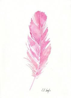 Pink watercolor feather painting original artwork pink pineapple, watercolour, feathers, pen and Feather Drawing, Watercolor Feather, Feather Painting, Feather Art, Watercolor Illustration, Watercolor Flowers, Watercolor Paintings, Pink Drawing, Pink Painting