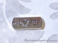 Charms - Silver Charms - 10 Love Charms with Cut Out Hearts - Diy Jewelry Supplies - Cute Charms - Small Charms For Jewelry Making - CH-S020
