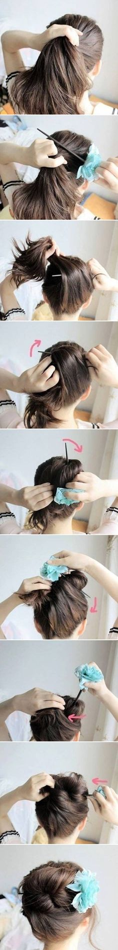 How to DIY Easy Bun Hairstyle Using Chopstick #fashion #hairstyle