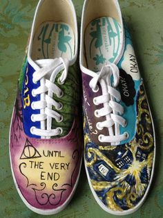 ultimate nerd shoes. want! These shoes represent a little bit from every fandom
