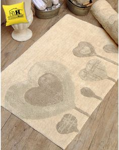 Tappeto Shabby Chic Cuore in Fiore Angelica Home & Country Colore Naturale / Beige