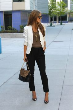 White blazer, black pants, brown blouse, heels. Fall street elegant women fashion outfit clothing style apparel @roressclothes closet ideas