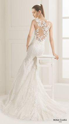 rosa clara two spring 2016 sleeveless illusion jewel sweetheart neckline fully embellished elegant mermaid trumpet lace wedding dress lace back court train (ezequiel) bv