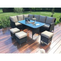All weather rattan Corner Sofa, 3 Stools & Table With Ice Bucket in brown flat weave. All Weather Garden Furniture, Garden Furniture Sets, Rattan Outdoor Furniture, Dining Furniture, Outdoor Decor, Rattan Corner Sofa, Rattan Sofa, Corner Dining Set, Moraira
