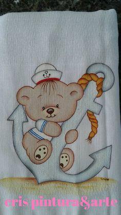 Pintura em tecido para bebês | meninos | marinheiro | ursinho
