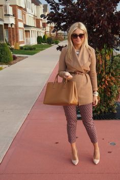 Toning down print pants with a neutral