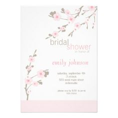 Invitation nuptiale de douche de fleurs de cerisie