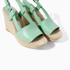 Image 5 of LEATHER WEDGE WITH WIDE STRAP from Zara
