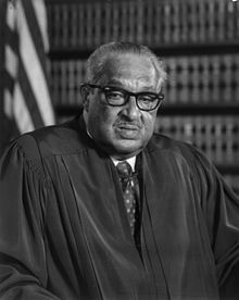 Thurgood Marshall (July 2, 1908 – January 24, 1993) was an Associate Justice of the United States Supreme Court, serving from October 1967 until October 1991. Marshall was the Court's 96th justice and its first African-American justice.  Before becoming a judge, Marshall was a lawyer who was best known for his high success rate in arguing before the Supreme Court and for the victory in Brown v. Board of Education.