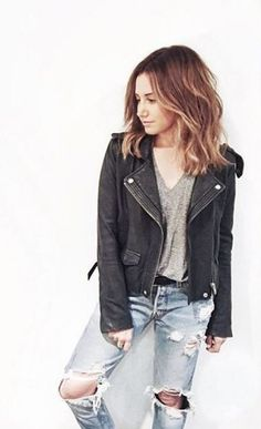Moto-jacket. Gray Tshirt. Distressed denim. SURPRISE!