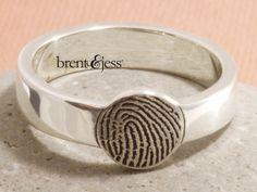 From www.brentjess.com - Round fingerprint signet ring personalized with YOUR fingerprint - Custom handmade fingerprint jewelry by Brent&Jess