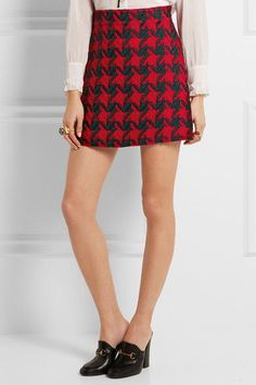 Gucci - Houndstooth Wool-blend Mini Skirt - Red - IT