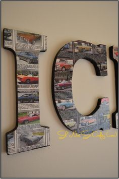 Car themed kid's room - mod podge classic car classifieds to child's name. Or use any pictures depending on theme (comic strips, football cards, etc. Car Themed Nursery, Car Themed Rooms, Car Nursery, Boy Car Room, Boys Car Bedroom, Baby Boy Rooms, Car Bedroom Ideas For Boys, Baby Room, Race Car Room