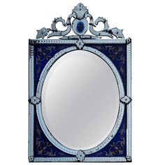 1880-1900 Venetian Mirror with Pediment Blue Glass Adorned with Flowers | From a unique collection of antique and modern wall mirrors at https://www.1stdibs.com/furniture/mirrors/wall-mirrors/