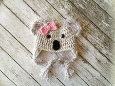 Little Miss Koala Bear Hat in Gray, Pink and Black Available in Newborn to Toddler Sizes- MADE TO ORDER on Etsy, $22.00