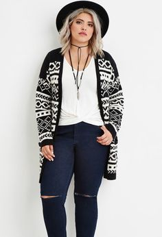 Plus Size Geo Stripe Cardigan | Forever 21 PLUS - 2000162437
