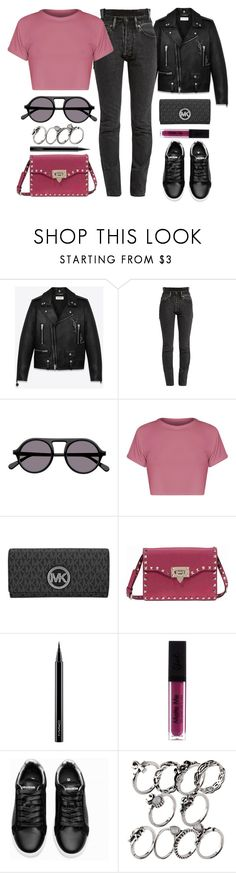 """Sunday"" by monmondefou ❤ liked on Polyvore featuring Yves Saint Laurent, Vetements, STELLA McCARTNEY, Michael Kors, Valentino, MAC Cosmetics, Pink and black"