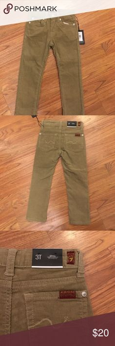 NWT 7 for all mankind 4t Khaki Cords! NWT khaki cords, skin straight leg fit, grew toddler pants! 7 For All Mankind Bottoms Casual