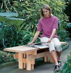 A handsome Japanese-inspired garden bench made from just five 10'-long 2x4s and some screws – a great project for beginning (or more advanced) woodworkers.