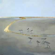 """""""Calmer"""" by Ellen Welch Granter. Oil and Gold Leaf on Panel. 24"""" X 24"""". Available at www.maine-art.com."""