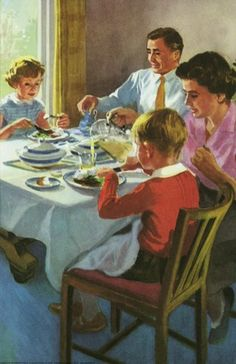 Ladybird Book illustration - Family mealtimes