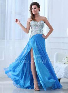 A-formet/Prinsesse Sweetheart Sweep Brudeslep Chiffon Festkjole med Beading Sparkly Prom Dresses, A Line Prom Dresses, Prom Dresses Online, Ball Gown Dresses, Event Dresses, Nice Dresses, Party Dresses, Dresses 2014, Formal Dresses