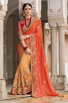 The most elegant and designer touch creation of half and half designer saree, this will definitely win the hearts of the ethnic wear lovers. Buy Designer Half Saree online - http://www.aishwaryadesignstudio.com/dainty-orange-half-half-saree-2