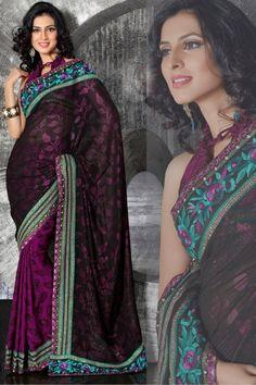 Green and purple saree