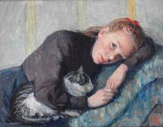 Ung kvinne med katt - Young Woman with Cat | oil painting,1908 | Wilhelm Wetlesen