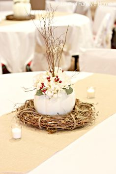 Simple and elegant.great idea for a Fall wedding! I'm definitely having a Fall wedding.love the Fall, favorite time of year! White Pumpkin Centerpieces, Pumpkin Vase, Purple Centerpiece, Centrepiece Ideas, Pumpkin Decorations, Pumpkin Candles, Centrepieces, Fall Wedding, Rustic Wedding