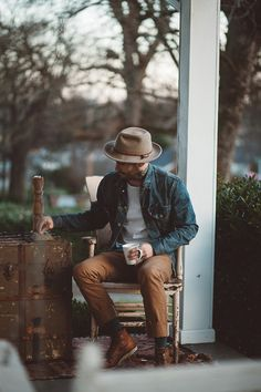 wheatandco:  Hat: Yellow 108(similar here) | Tee: Wheat & Co | Jacket: Levis | Pants: Rogue Territory | Socks: Richer Poorer | Boots: Red Wing - Fit: I'm wearing a large hat, large tee, medium jacket, 30 pants, size 8.5 boots. **All Images: Emilia Pare