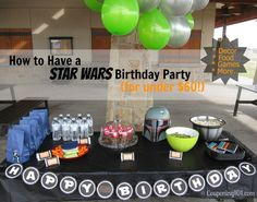 Star Wars Birthday Party ideas - games, food, decor, and more! Boy Birthday Parties, Birthday Fun, Birthday Party Decorations, Party Themes, Party Ideas, Birthday Ideas, Event Ideas, Party Party, Star Wars Party