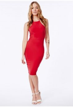 Missguided - Sienna Slinky Crossover Back Midi Dress In Red