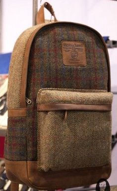 Harris Tweed wool & leather Backpack