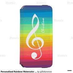 Personalized Rainbow Watercolor Treble Clef Incipio Watson™ iPhone 6 Wallet Case