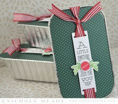 Something Special Treat Tins by Nichole Heady for Papertrey Ink (September Christmas Gifts To Make, Holiday Gift Tags, Christmas Tag, Christmas Crafts, Christmas Wrapping, Christmas Ideas, Cake Boxes Packaging, Cookie Packaging, Gift Packaging