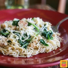 Angel Hair Pasta with Chicken Spinach and White Wine Sauce perfect for an easy chicken recipe dinner