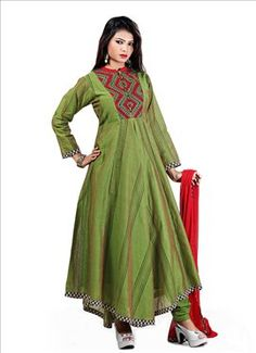 Green Voile Cotton Asymmetrical Anarkali