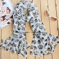 Free shipping 2014 new scarves skull print fashion style Thin Silk Women Scarf Shawl female cute pashmina two sizes $4.50 - 5.30