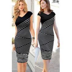 Short Sleeve Straight Knee Length Black Pencil Dress