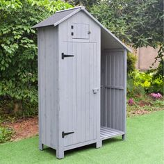 Sentry Shed and Log Store - putty grey Backyard Storage Sheds, Backyard Sheds, Small Backyard Landscaping, Outdoor Storage, Shed With Log Store, Shed To Tiny House, Garden Structures, Outdoor Structures, Shed Playhouse