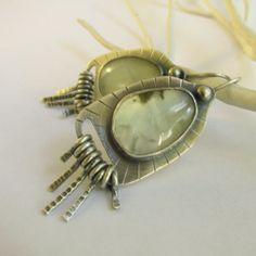 OOAK+Argentium+Sterling+Silver+And+Prehnite+Earrings++by+Mocahete,+$172.00