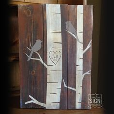 Check out this wood sign available on Etsy. Initials and heart carved in birch tree. Can be done with or without birds in tree and text can be custom as well. Great wedding gift, anniversary gift, housewarming present, or realtor closing gift.